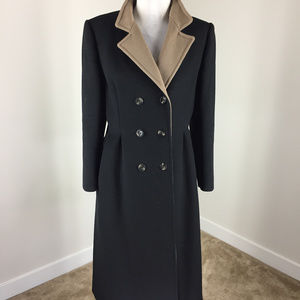Vintage Black Long Wool Car Coat M Double breasted